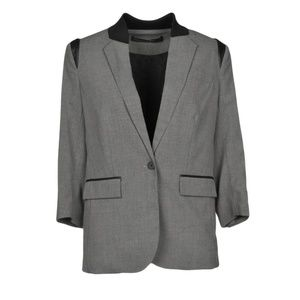 Cut25 by Yigal Azrouel gray leather trim blazer